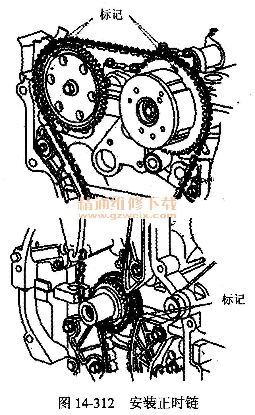 北京现代御翔 g4kc 2.4 l型发动机 正时 校对方高清图片