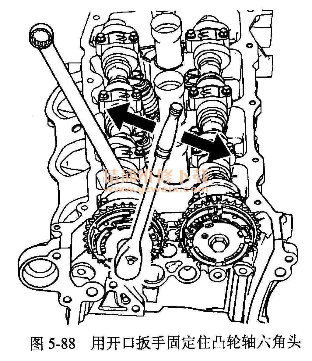 注意:用开口扳手固定住凸轮轴六角头,防止凸轮轴