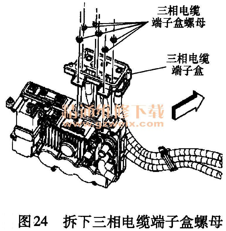 24将发电机控制模块三相电缆端子盒从发电机控制模块上掀起并重新图片