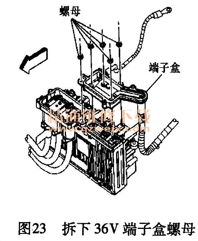 23将发电机控制模块三相电缆端子盒螺母从发电机控制模块上拆下,图片