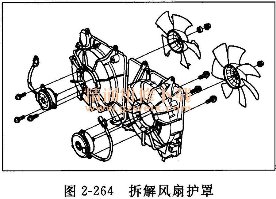 安裝 用新的O形圈2安裝ECT傳感器11(見圖2-253)。  安裝冷卻水旁通軟管3。 將所有舊的密封膠從出水口接合面、螺栓和螺栓孔上清除。 清理并風干出水口的接合面。 在出水口的汽缸蓋接合面和螺栓孔的內螺紋上均勻地涂抹密封膠(見圖2-254)。  注意:沿虛線1涂抹約2.5mm鋼圈直徑的密封膠。