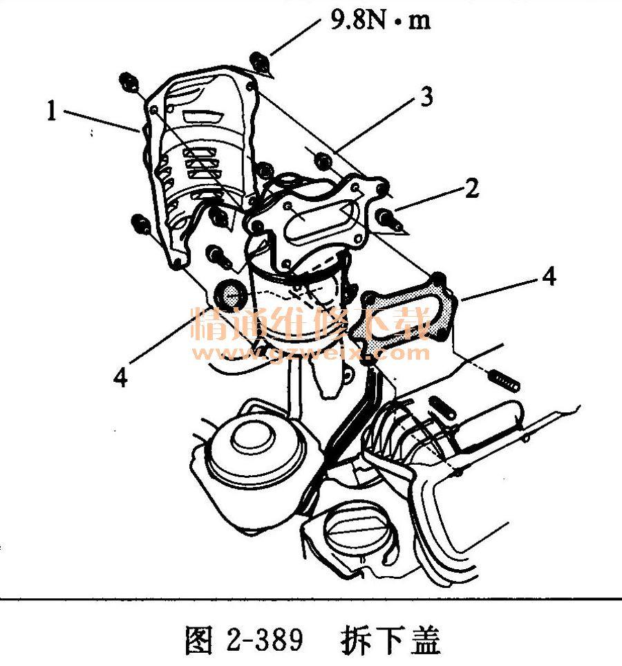2.3.8催化转换器系统 (1)检查催化转化器 如果怀疑排气系统存在过多的背压,将TWC从车辆上拆下。 使用手电筒1和塞子2目视检查催化剂的堵塞、溶解或裂化状态(见图2-387)。  如果有任何可视部位损坏或堵塞,更换TWC。 (2)尾管排放测试 连接转速表。 启动发动机。无负载(A/T在P或N位置,M/T在空挡位置)时,将发动机转速保持为3000r/min,直至散热器风扇运转,然后使其怠速。 检查怠速转速。 按仪表制造商的说明,预热并校准CO计。 在大灯、加热器鼓风机、后窗除雾器、冷却风扇和空调