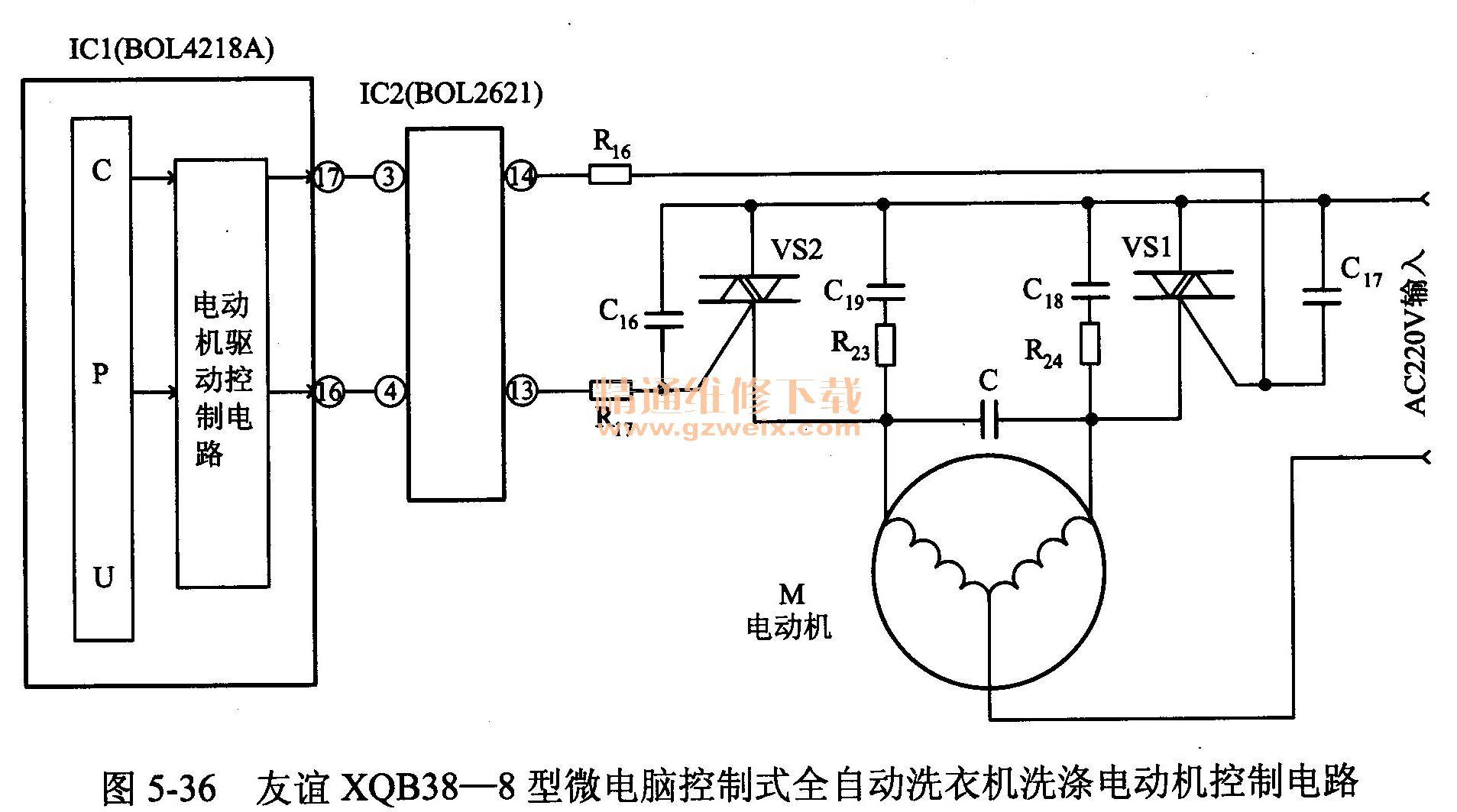 友谊xqb38-8型全自动洗衣机洗涤电动机只能做一个方向运转