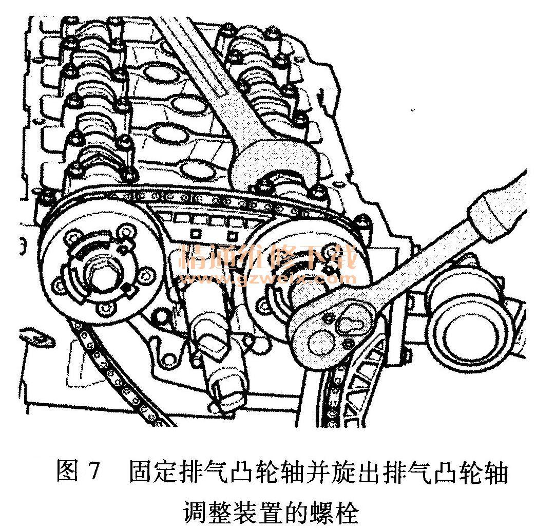 奥迪q7(3.6l bhk发动机)正时校对方法