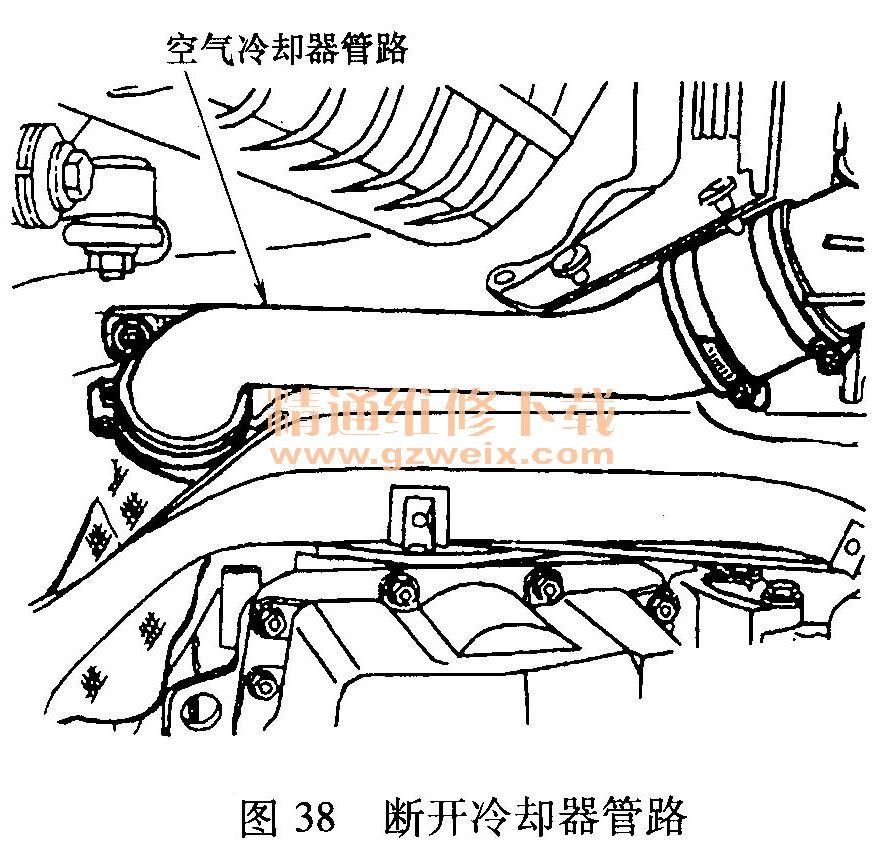 二、TT轿车1. 8T发动机正时带校准 1.正时带拆卸步骤 1)断开涡轮增压器空气冷却器管路(图38)。拆下中间和右侧隔音板(图39)。   2)拆下附件传动带和张紧器,顺时针转动张紧器,释放传动带张力。附件传动带盘绕路径见图40。  3)拆卸发动机冷却系统膨胀箱和动力转向系统储液罐螺栓,不要断开管路,将膨胀箱和储液罐移开。 4)拆下连接燃油蒸发炭罐到节气门体的真空管路。拔下冷却液膨胀箱和燃油蒸发炭罐上的电路接头。拆下正时带上罩。正时带部件如图41所示。  5)用支撑架支撑发动机。 6)转动曲轴链轮中心螺