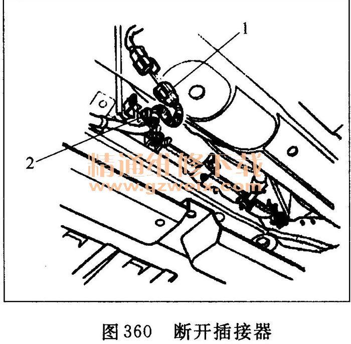 ⑦断开散热器风扇电机插接器1和ECT传感器2插接器2,然后拆下线束高清图片