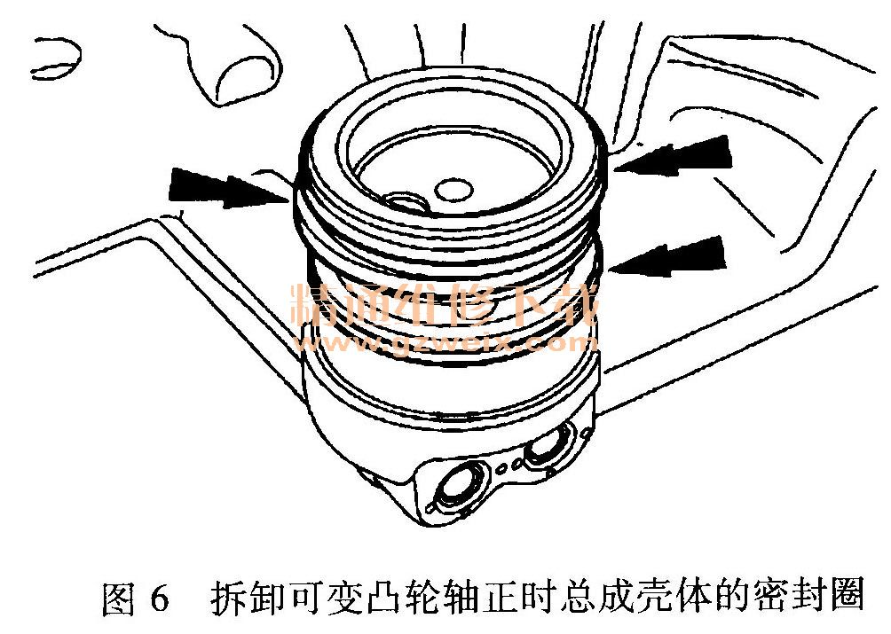 8)拆下主正时链条张紧器的2个固定螺栓,如图7所示.-福特锐界 高清图片