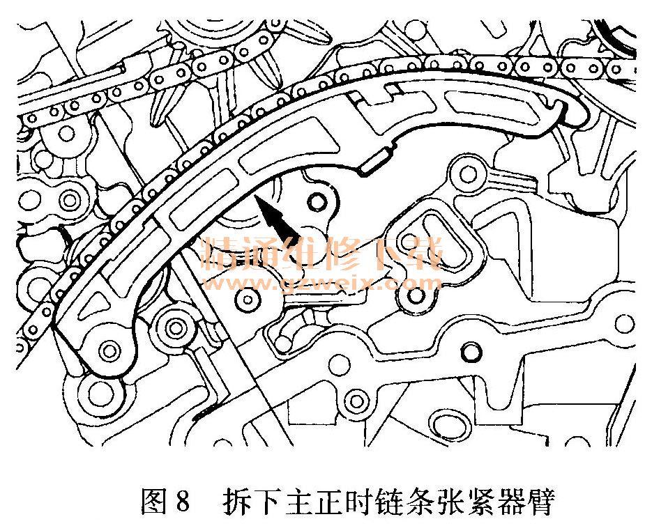 个螺栓和左侧主正时链条下部导轨,如图9所示.-福特锐界 EDGE 高清图片