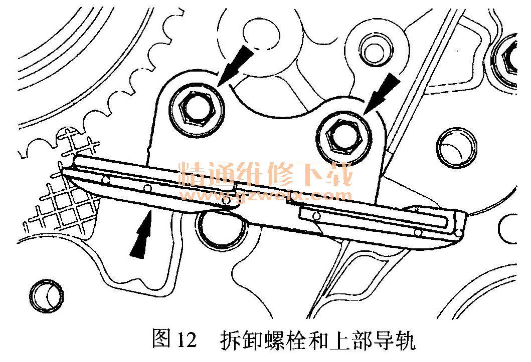 )压缩左侧次级正时链条张紧器并插入限位销,如图13所示,使张紧高清图片
