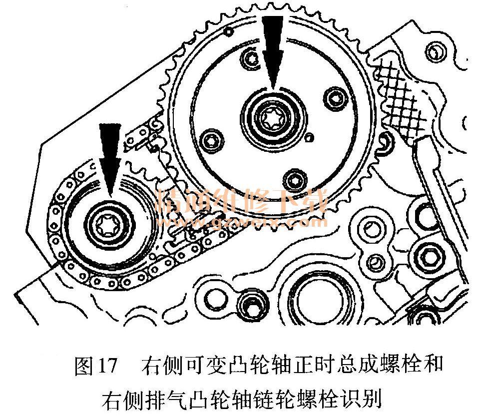 螺栓和右侧次级正时链条张紧器,如图18所示.-福特锐界 EDGE 3.5高清图片