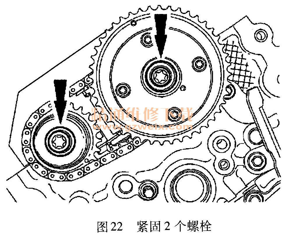 )拆卸右侧次级正时链条张紧器内插入的限位销,如图23所示.-福特高清图片