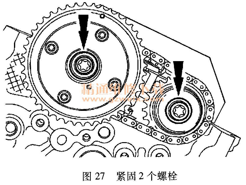 )拆卸左侧次级正时链条张紧器内插入的限位销,如图28所示.-福特高清图片