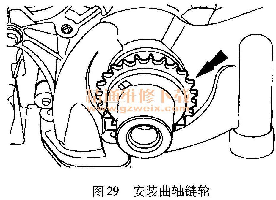 13)安装主正时链条,并确保正时链条上的镀色链节与可变凸轮轴正时高清图片