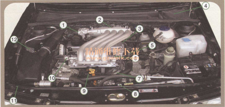 (三)燃油喷射类型 1.K-Jetronie燃油喷射系统(机械式) (1)K型喷射系统工作原理 K型喷射是一种无外驱动的机械式汽油喷射系统,直接测量空气流量,其燃油连续地与发动机吸入的空气量成比例地计量,需要使用精确计量吸入空气量的控制装置。在新推出的汽车上已停止使用。  空气供给过程:发动机工作时,空气经空气滤清器过滤,沿进气管道,推开挡板至节气门体,节气门体设有节气门,控制进人进气歧管的空气量,最后与燃油混合进人气缸燃烧。 燃油供给过程:燃油泵将油从燃油箱泵出,经燃油滤清器过滤,进气流推开挡板,带动杠