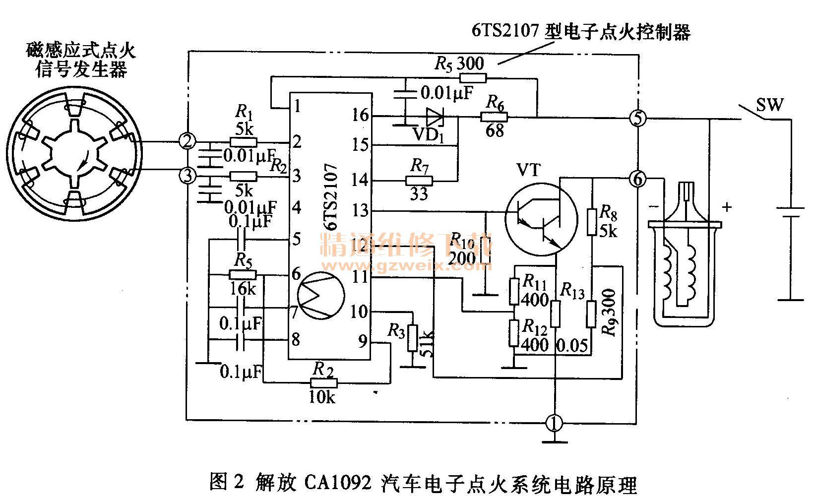 解放ca1092汽车电子点火系统的电路原理如图2