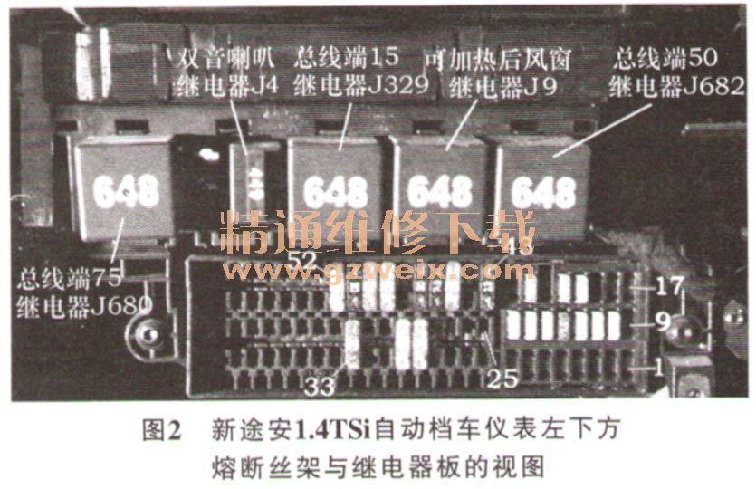 大众新途安mpv车熔断丝与继电器位置分配 高清图片