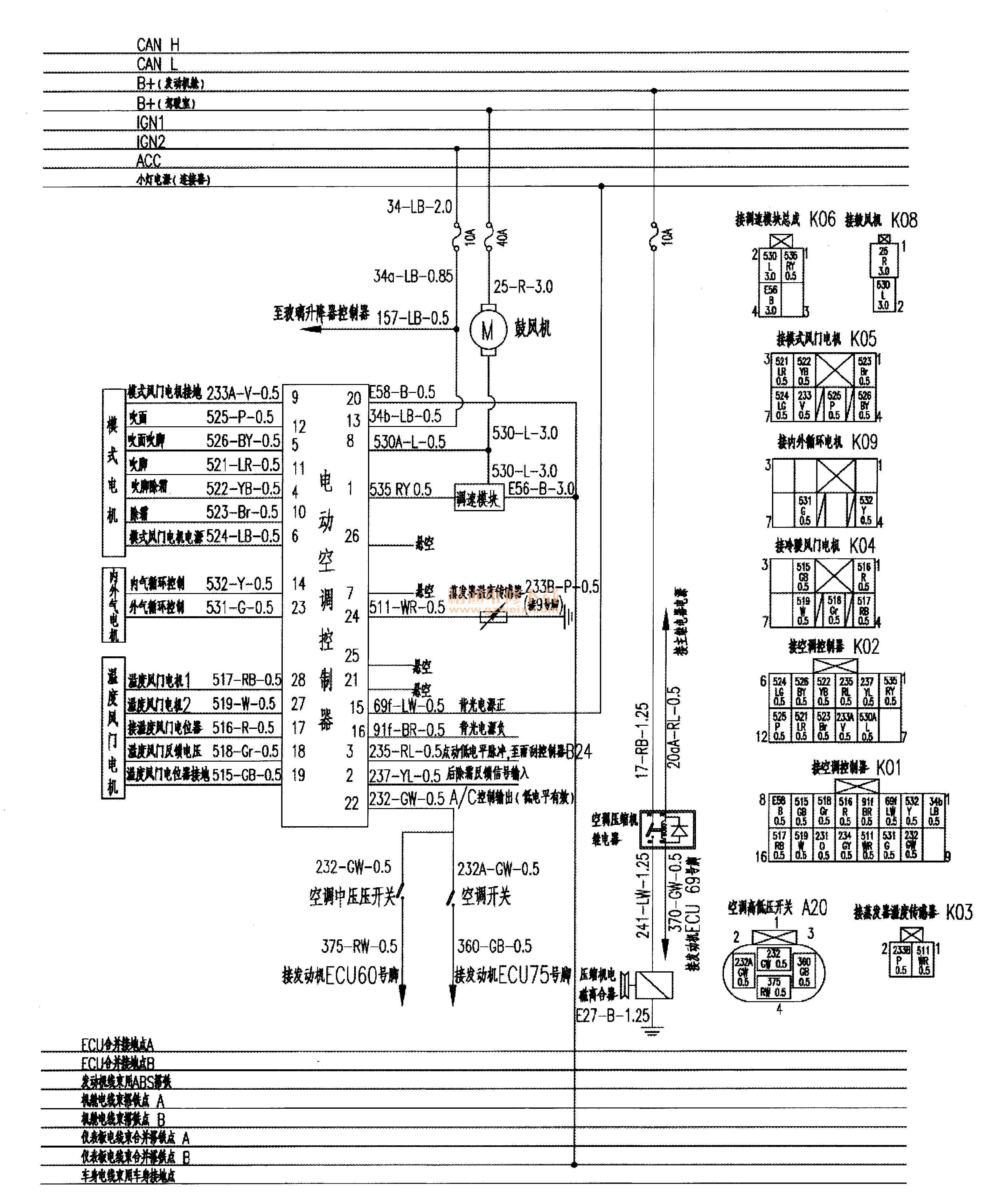 东风风行景逸x3空调系统和倒车雷达系统电路图