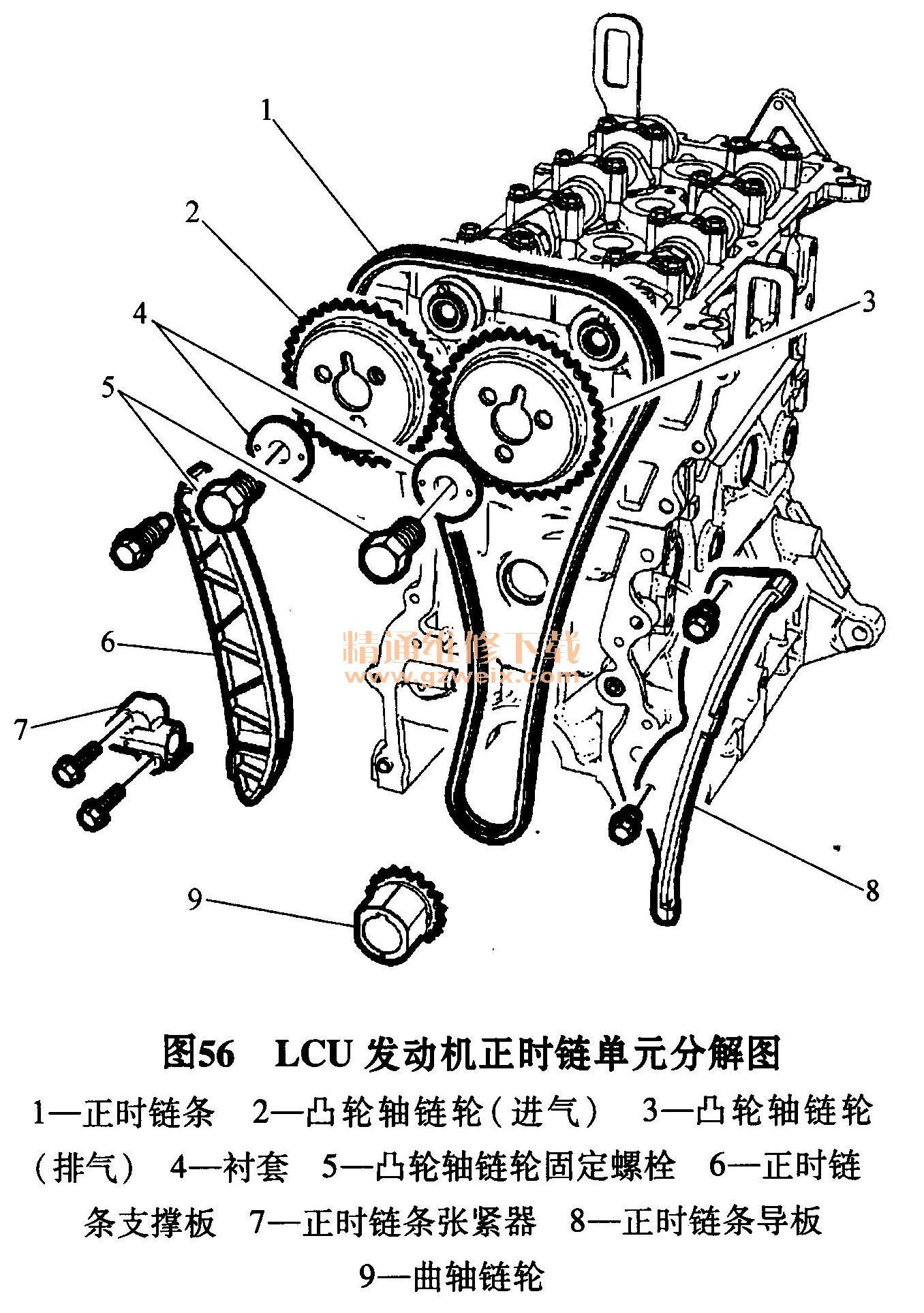 雪佛兰lcu 1. 4l发动机正时校对方法