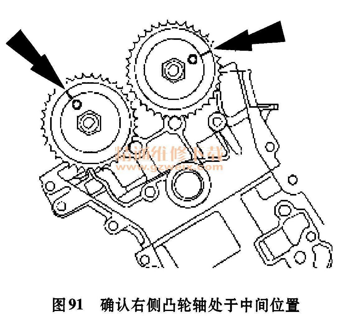 """1.正时链单元的拆卸步骤 1)拆下发动机前盖 2)如图88所示,拆下点火开关脉冲轮。此脉冲轮用在几种不同的发动机上。安装脉冲轮,使键槽在印有""""30""""或""""30RFF""""(橙色)的槽内。  3)安装减振器螺栓。 4)拆下左右两侧火花塞。 5)如图89所示,顺时针转动曲轴以使曲轴键槽处于11点钟位置,并且凸轮轴置于正确位置。这会使1号气缸处于压缩行程上止点(TDC)。确认凸轮轴正确定位。如果没有再转动曲轴一圈,重新检查。  6)如图90所示顺时针转动曲轴120&de"""