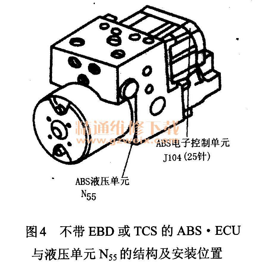 帕萨特电控制动防抱死系统电路故障检测及维修高清图片