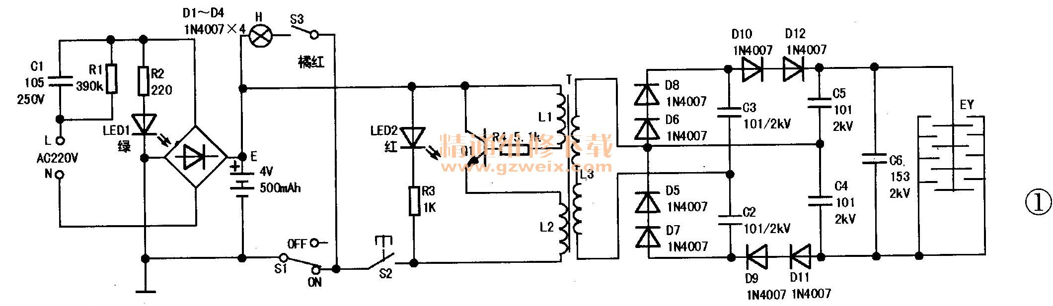 电子灭�yfj_检修鼎能牌dn-2050型充电式电子灭蚊拍原理与故障
