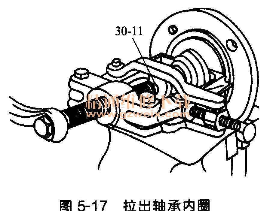 注意:只能使用带箍圈的拉具,拉具上的钩子表面在使用前要用砂纸打磨一
