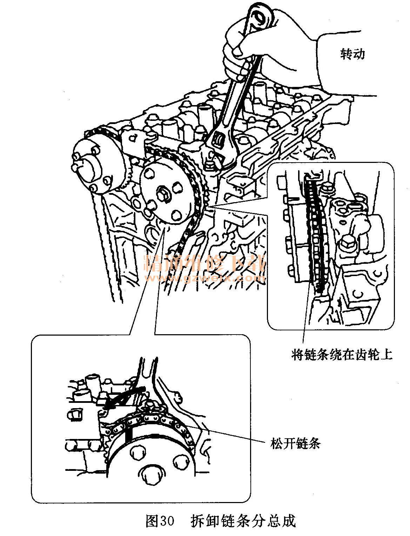 丰田花冠EX 1.6L 1ZR FE发动机正时校对方法高清图片