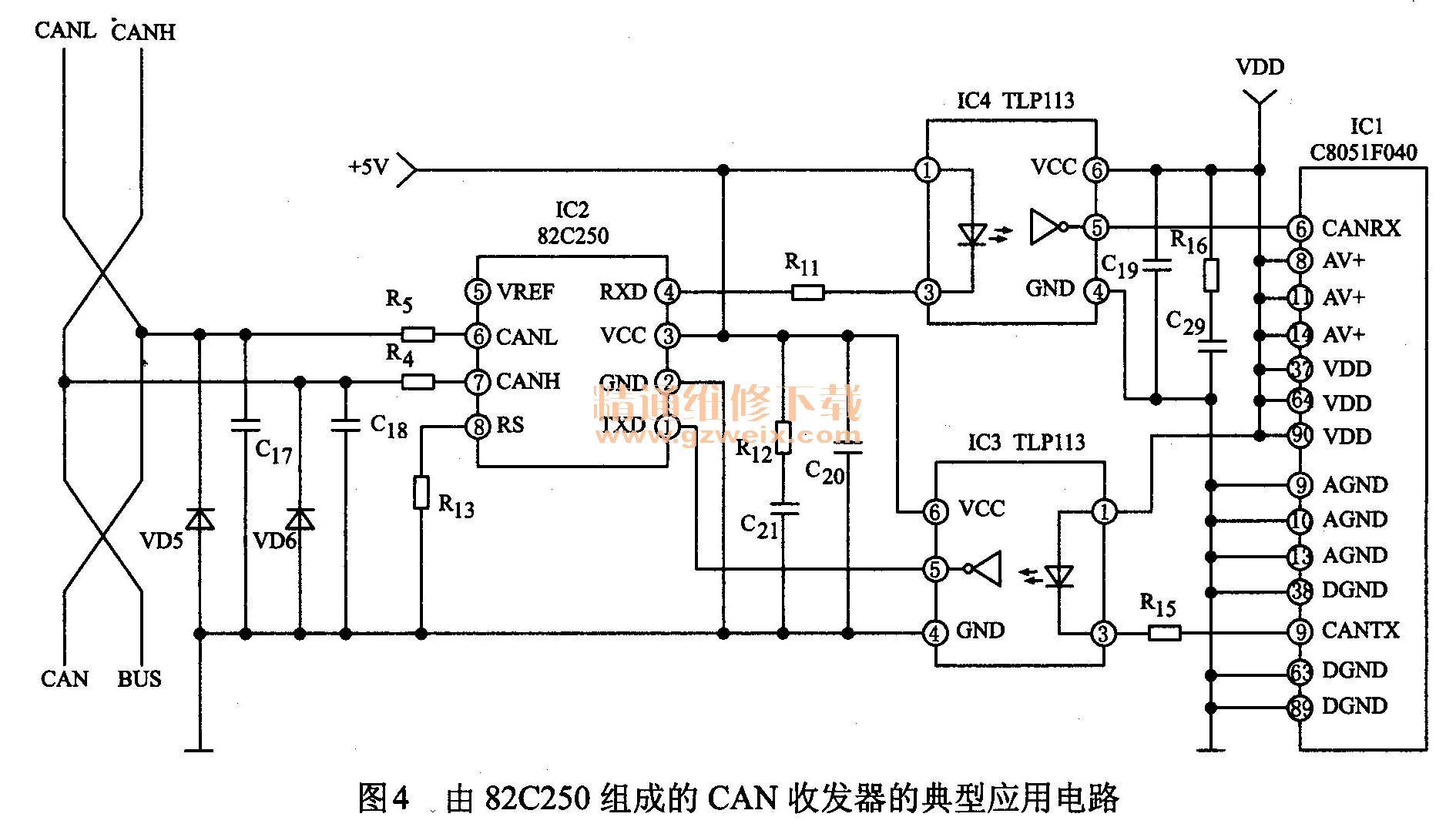 由82C250组成的CAN收发器的典型应用电路