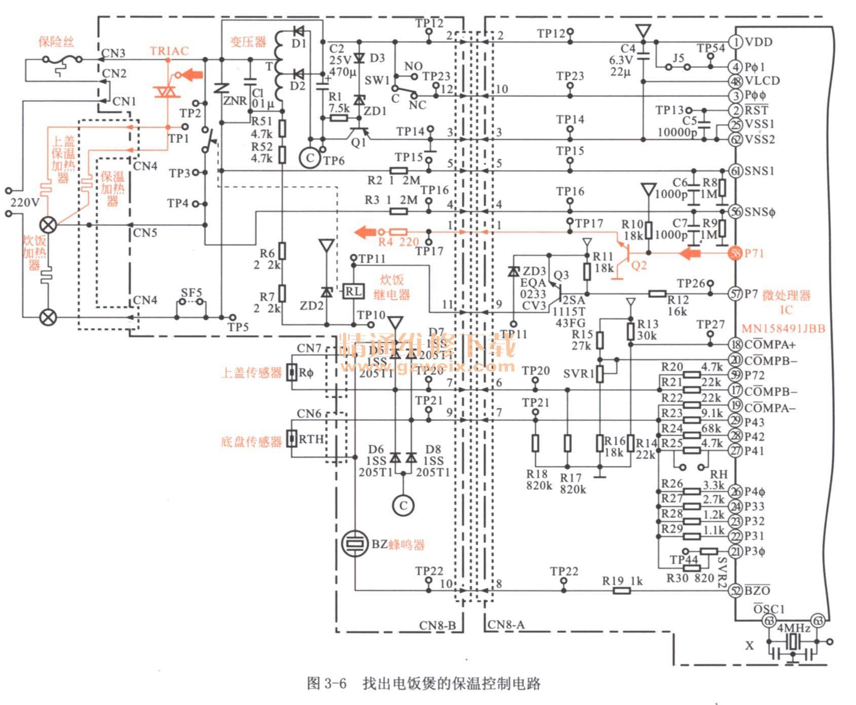 如图3-6所示,即找到电饭煲保温组件的控制电路.