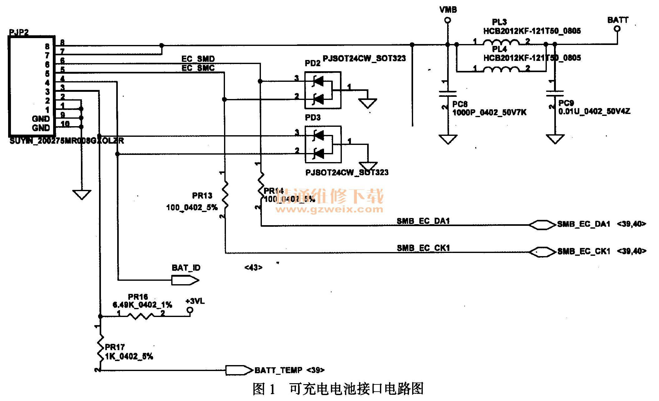 于是检测该故障笔记本电脑的充电控制电路,如图2所示为该故障笔记本