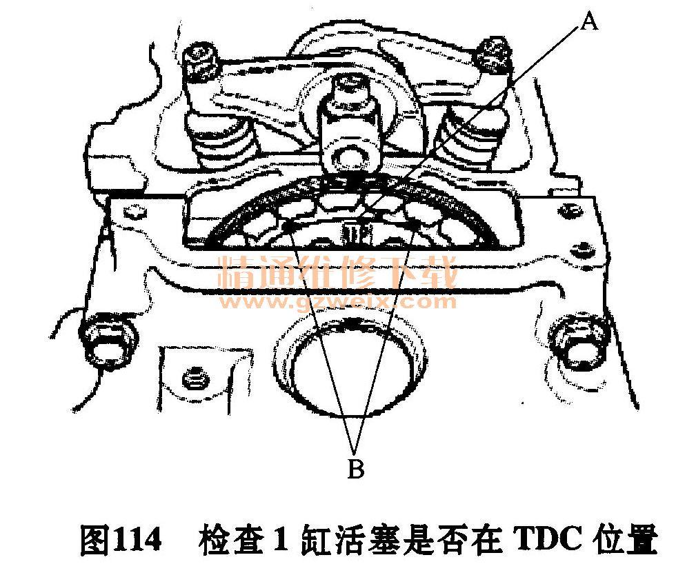 """2011~2012款广汽理念S1装备L13A3 1. 3L/L15A1 1. 5L发动机正时校对方法 1.正时带单元分解 发动机正时链单元分解图如图112所示。  2.正时链单元的拆卸方法 1)转动曲轴带轮,使其上止点(TDC)标记(A)与指针(B)对准,如图113所示。  2)拆下气缸盖罩。 3) 1缸活塞在压缩行程上止点位置时,检查凸轮轴链轮上的""""UP""""标记(A)应在顶部,并且凸轮轴链轮上的TDC凹槽(B)应与气缸盖的顶部边缘对准,如图114所示。  4)拆下右前轮。 5)拆下"""