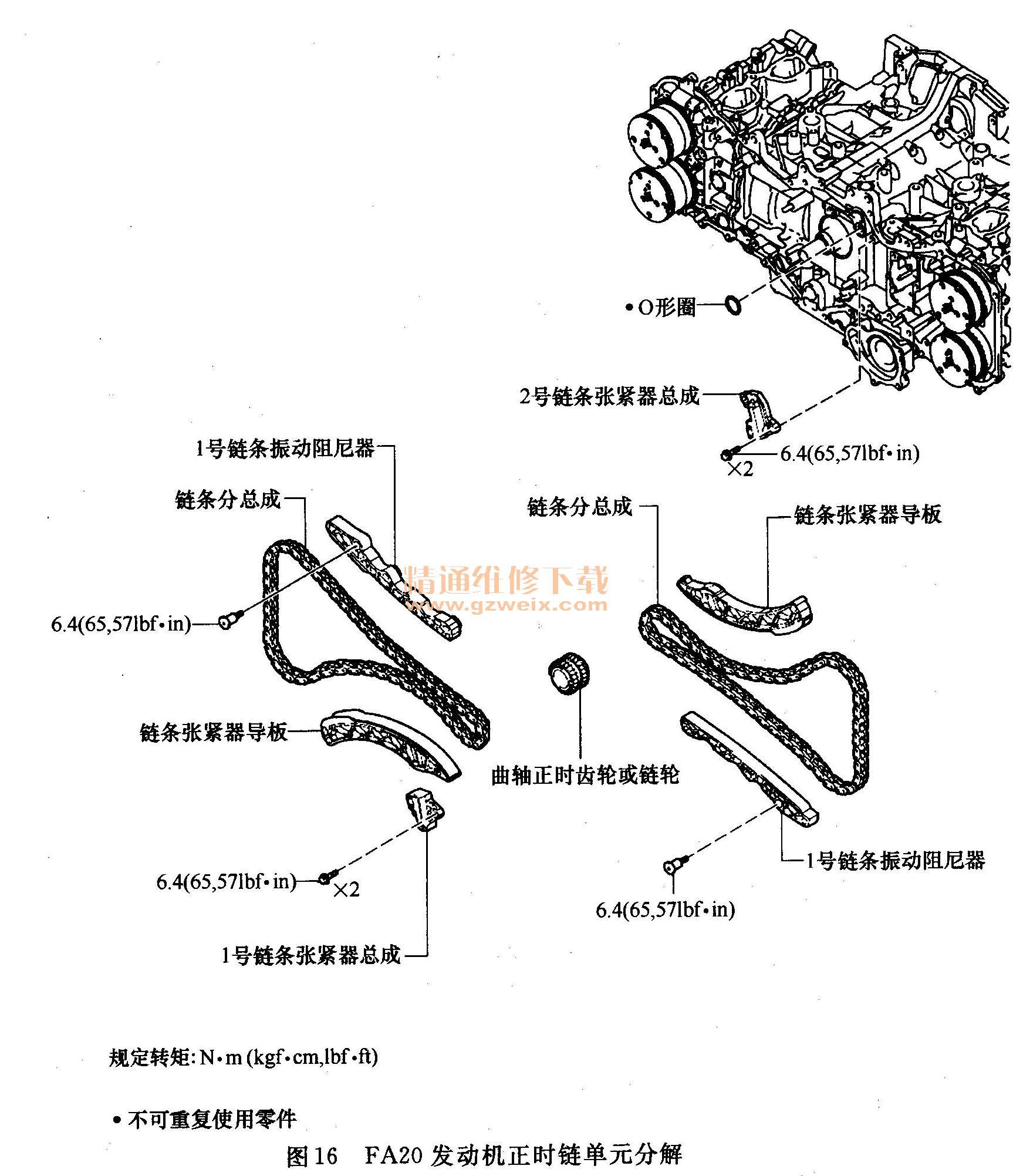 fa20发动机正时维修      (1)发动机正时链单元结构分解     发动机正