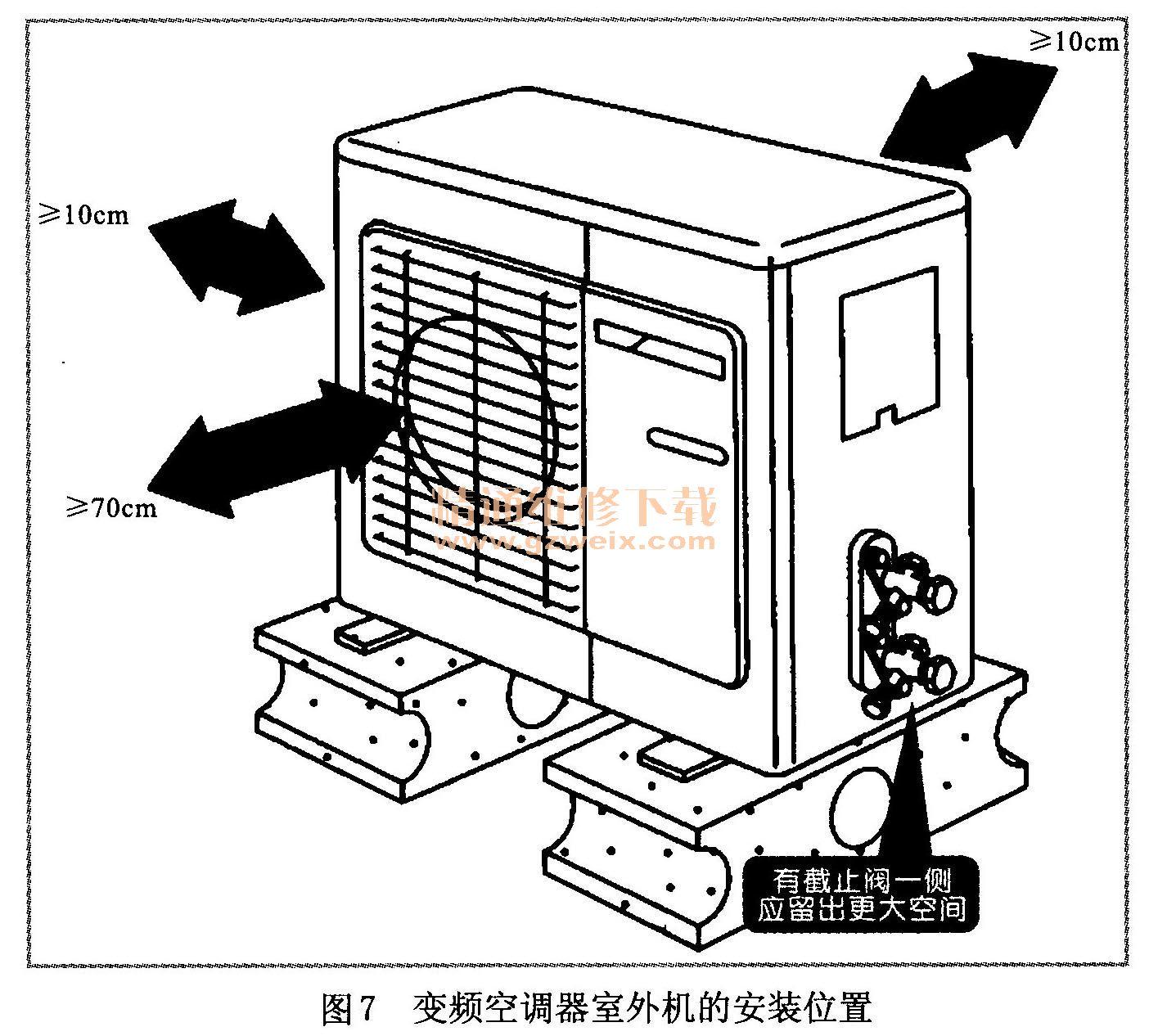 排水管接通,分体柜式变频空调器室内机的下方或左右