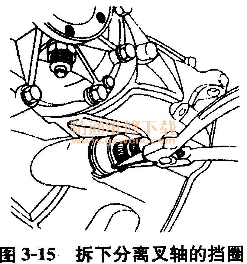 (4)离合器踏板助力弹簧的更换 拆下挡圈,拆下连接销,取下助力弹簧,如图3-13所示。  装上新的助力弹簧。 (5)拉索的更换 拧松调整踏板自由行程的防松螺母,并放松拉索,如图3-14所示。  取下拉索。 装上新的拉索,用润滑脂润滑用于连接的两端。 (6)分离叉轴的更换 拆卸变速器。 拆下离合器分离叉轴传动杆。 拆下分离轴承。拆下挡圈,如图3-15所示。  取下橡胶防尘套,拆下分离套筒。 拆下分离叉轴的定位螺栓。 拆下分离叉轴左衬套,取下分离叉轴。 拆下分离叉轴右衬套(如图3-16所