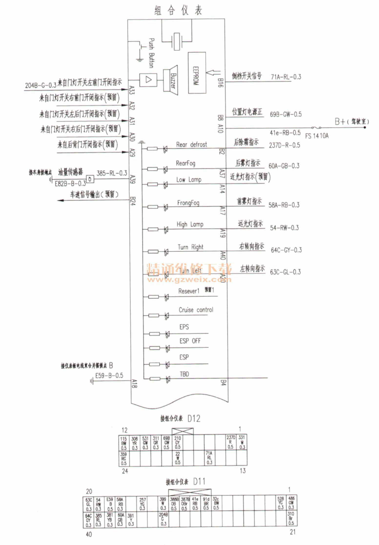 东风风行景逸x3组合仪表电路图