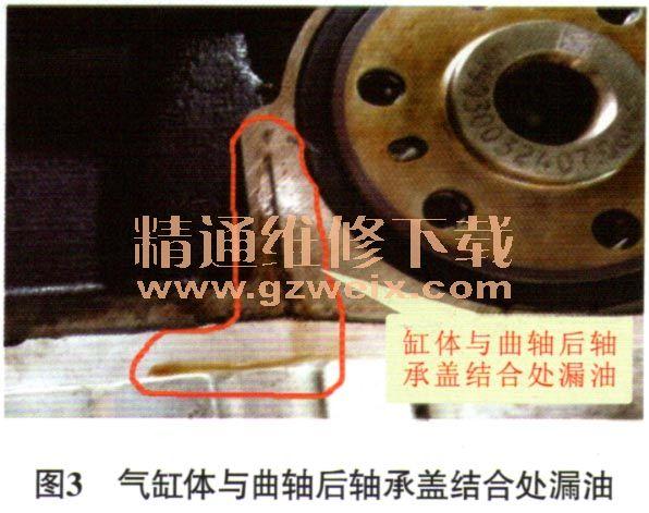 雪佛兰景程发动机曲轴后轴承盖与气缸体结合面漏油高清图片