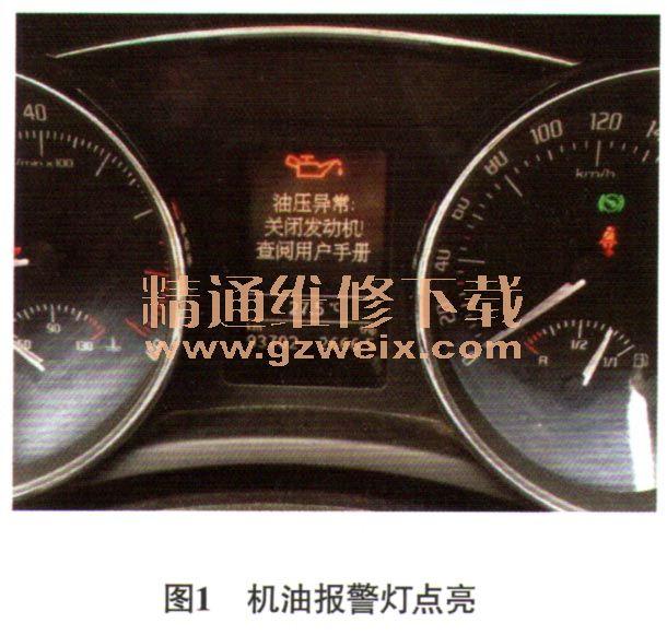 .8T轿车怠速机油报警灯异棠点亮