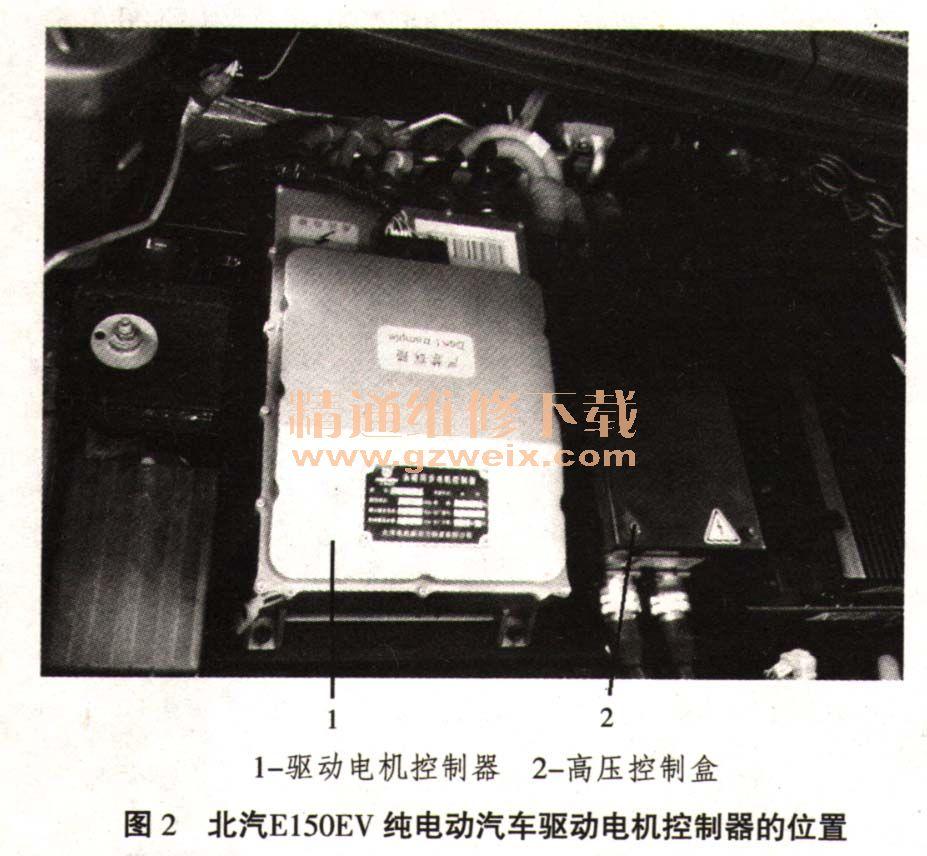0EV纯   电动汽车   驱动电机控制器的位置如图2所示,驱动电机控制器