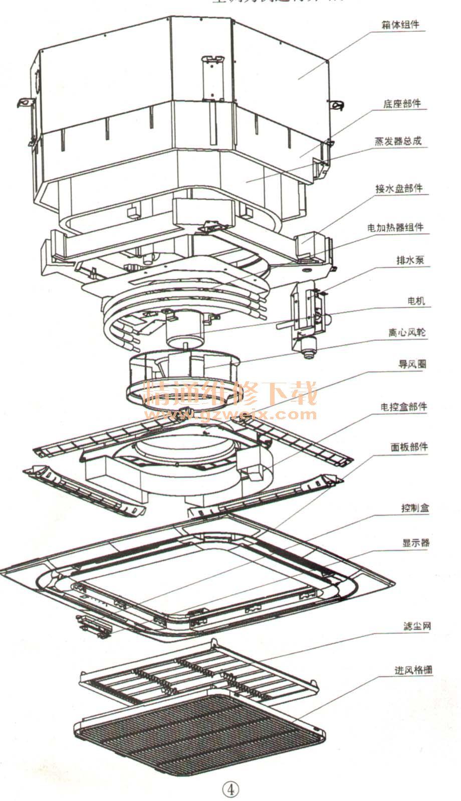 柜式空调外机结构图_分体嵌入式空调室内机拆卸图解 - 精通维修下载