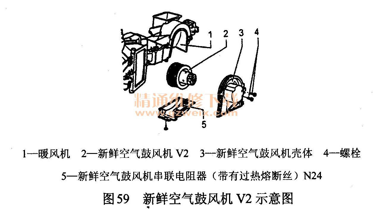 帕萨特b5系列轿车空调暖风装置的结构示意图如图58所示