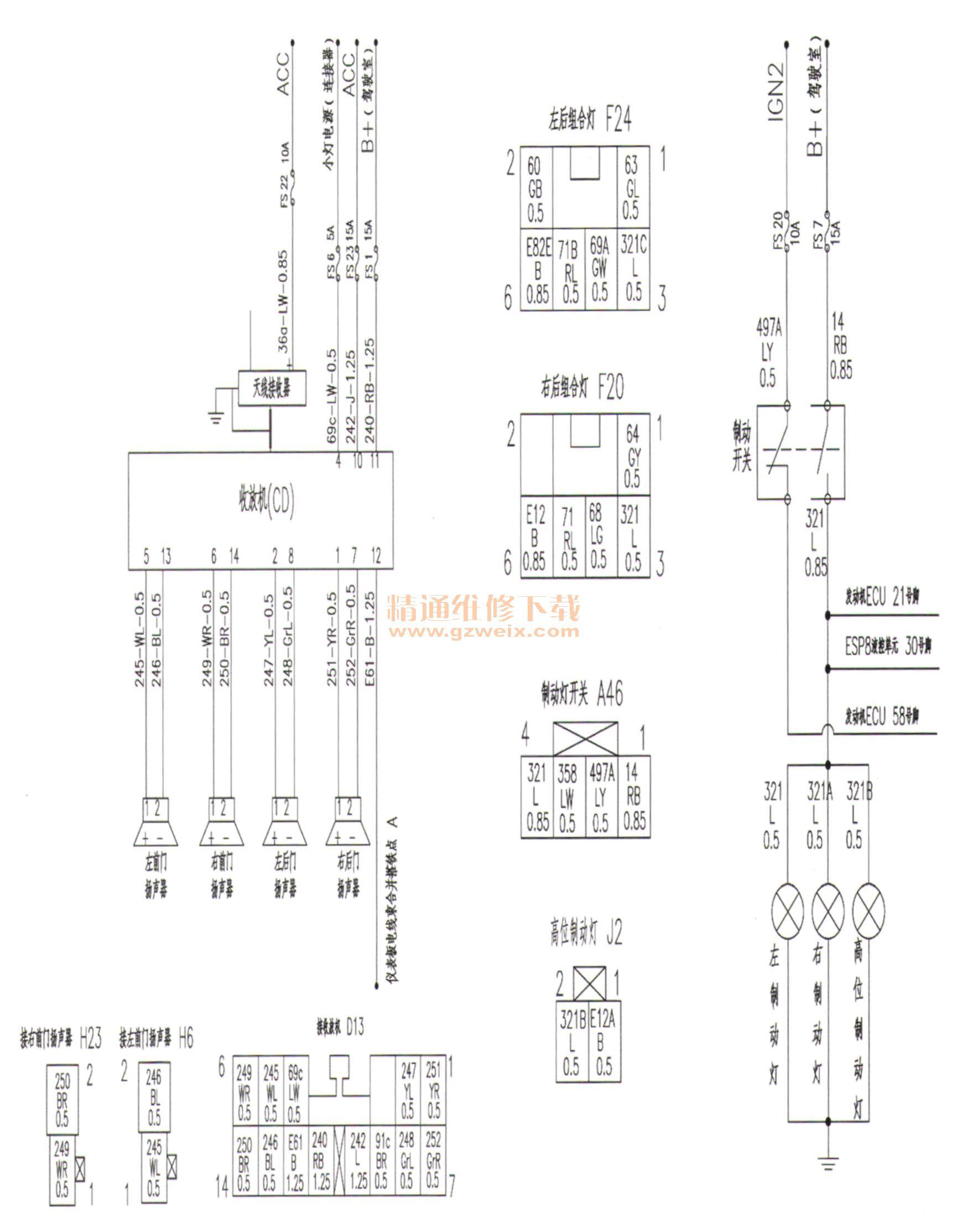 东风风行景逸x3电气系统电路图