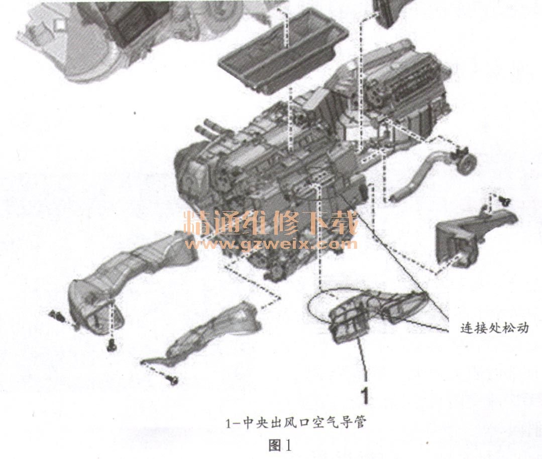 奥迪A6L轿车开空调时中央出风口有响声高清图片