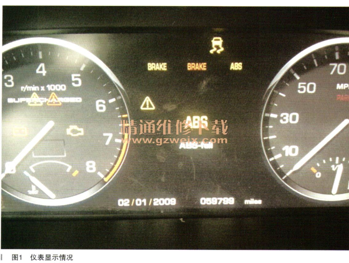 路虎揽胜发动机仪表上亮了好多灯 无法启动高清图片