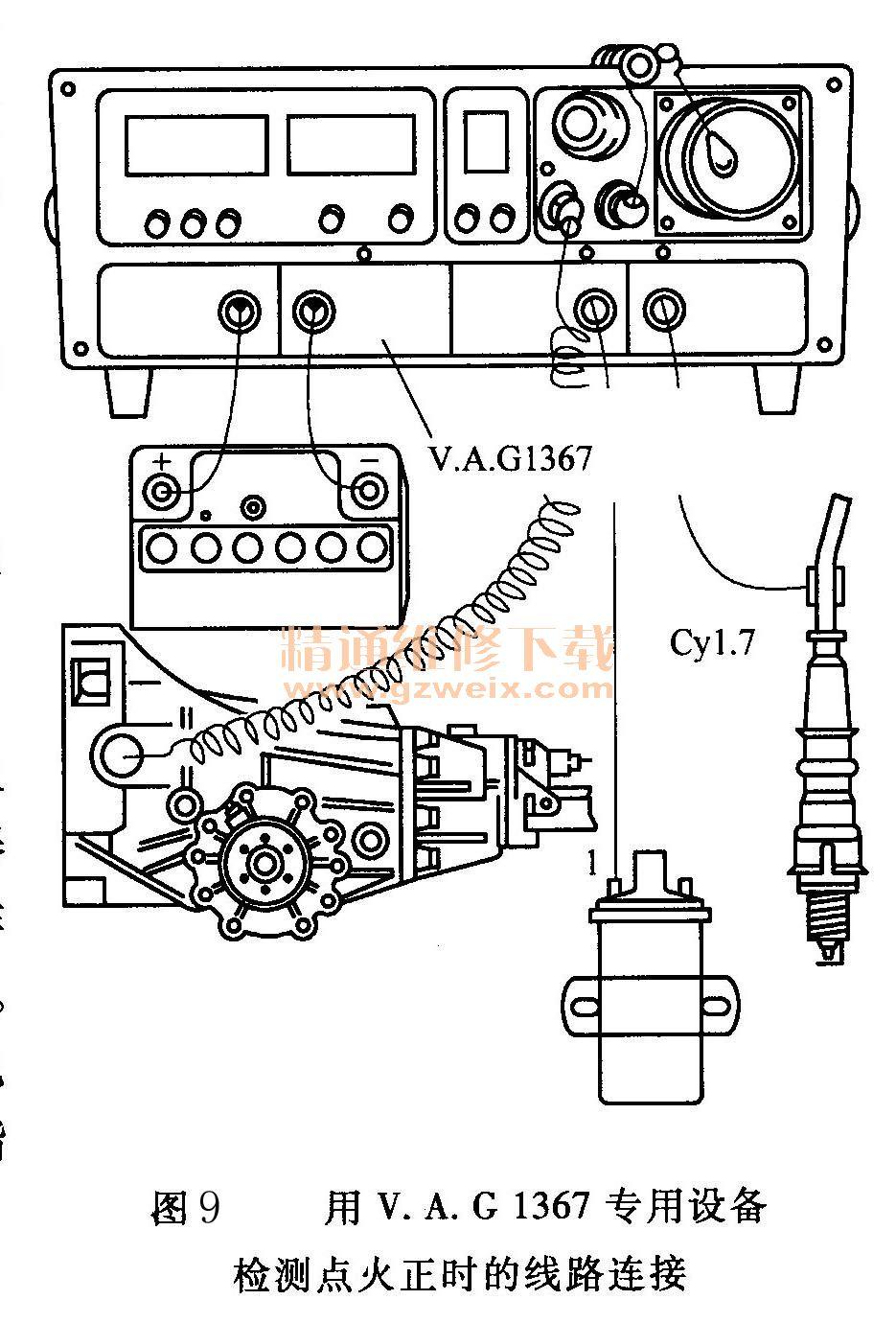 大众桑塔纳电子点火系统电路故障检修高清图片