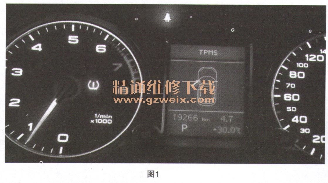 奥迪Q5仪表TPMS故障灯亮高清图片