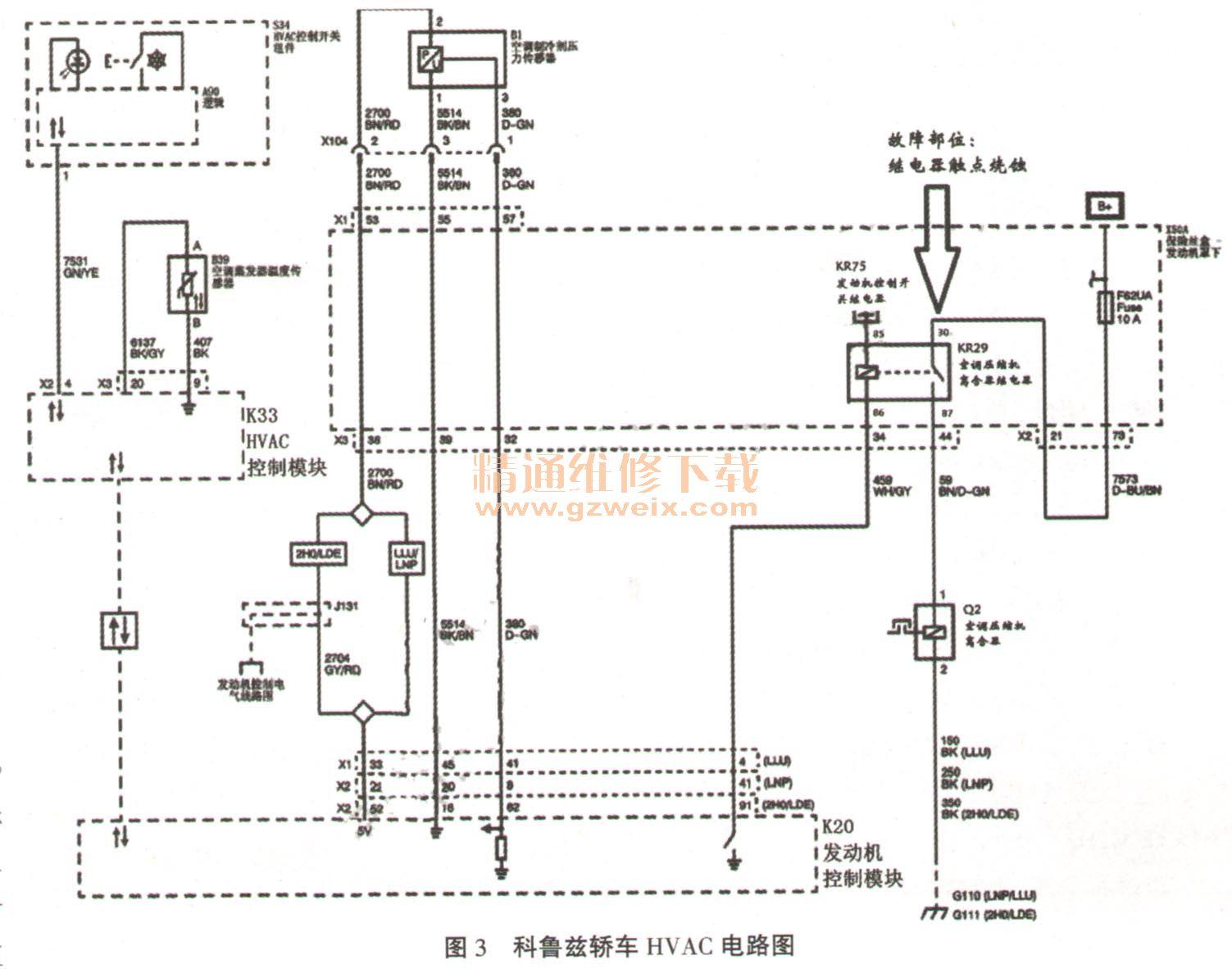 科鲁兹轿车的hvac电路查找控制压缩机工作的继电器kr