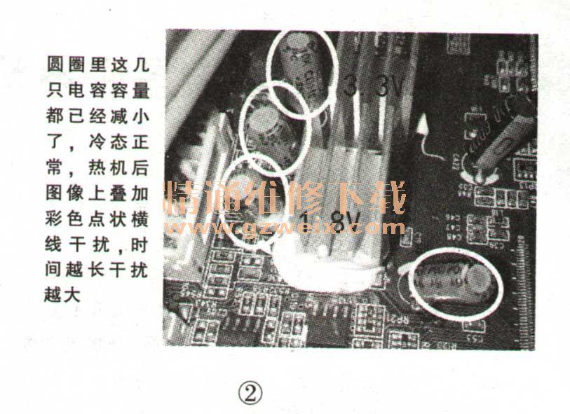 tcl l40e77型液晶彩电热机后图像上叠加有彩色点状横线干扰