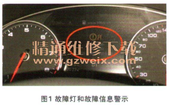 奥迪A6L轿车仪表板上变速器故障灯点亮高清图片