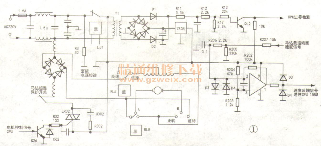三洋xqg60-l932cx滚筒洗衣机电机控制电路分析与检修