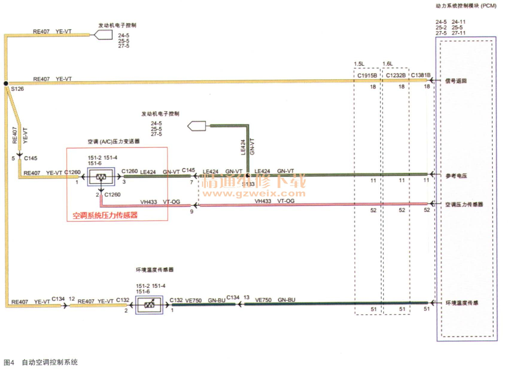 依据线路图如图4所示,检测空调压力传感器到pcm模块之间的线路